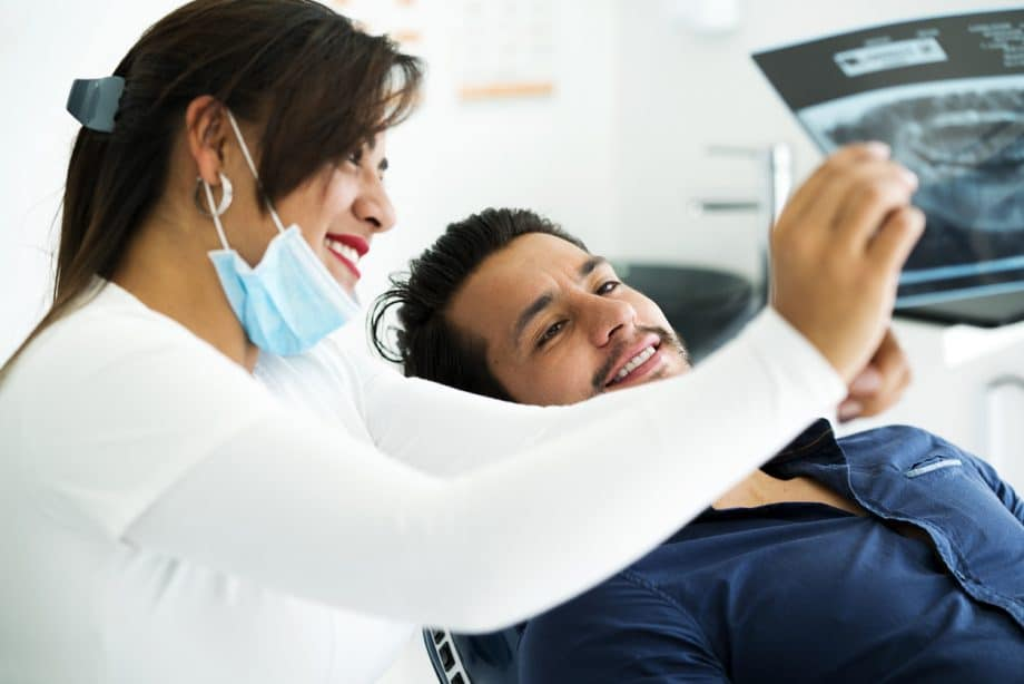 dentist and patient viewing results