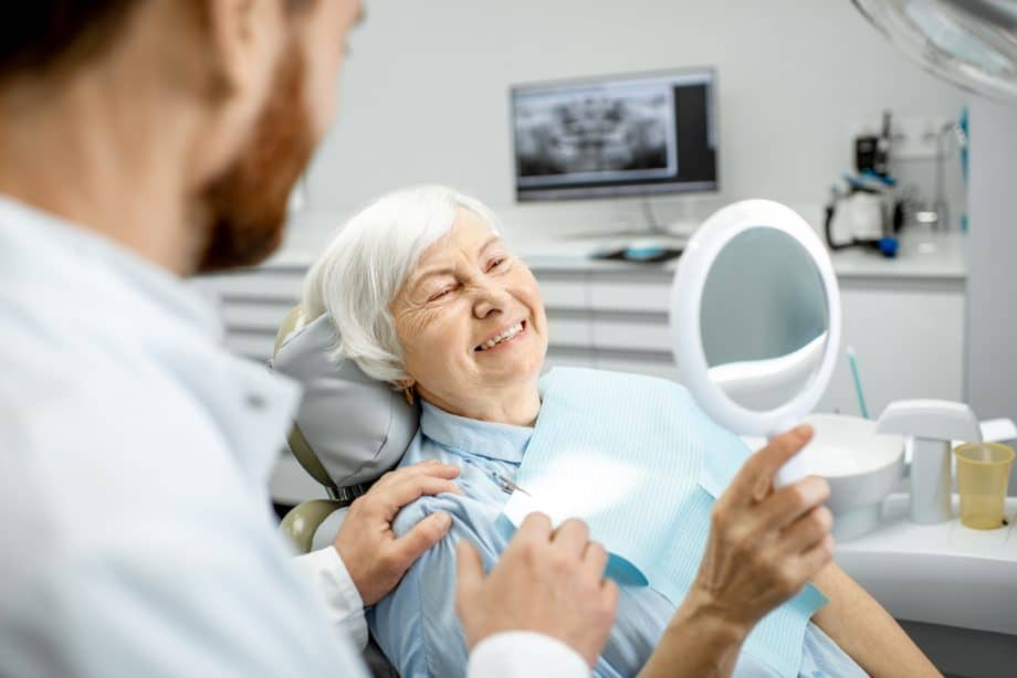 elderly woman enjoying new smile